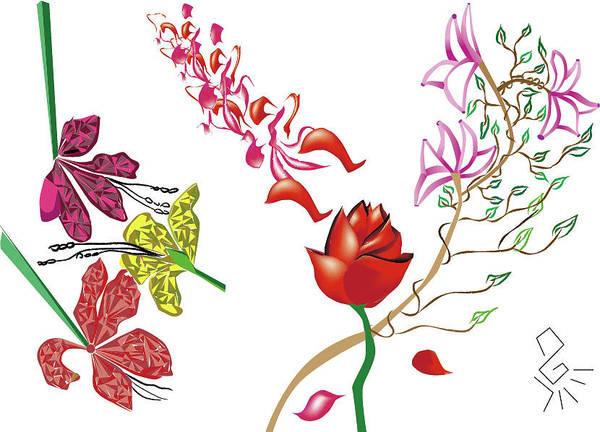 Drawing - Garden Flowers by Tatiana Hallack
