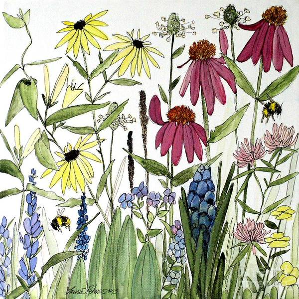Garden Flowers With Bees Art Print