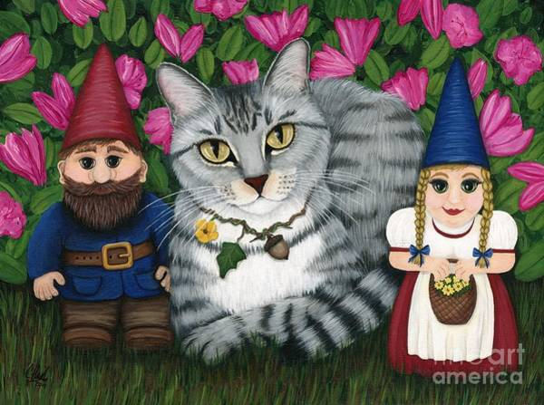Garden Friends - Tabby Cat And Gnomes Art Print