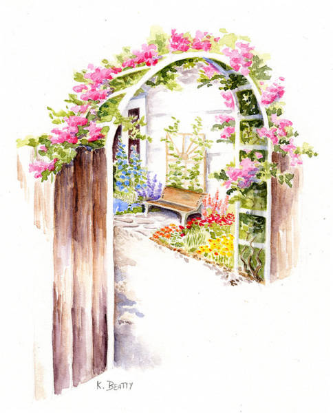 Painting - Garden Gate Botanical Landscape by Karla Beatty