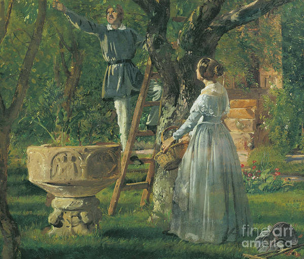 Apple Orchard Painting - Garden In Ringsted With A Ancient Baptismal Font by Jorgan Roed