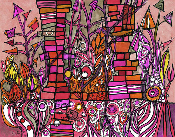 Semi Abstract Drawing - Garden In The Ruins by Sandra Church