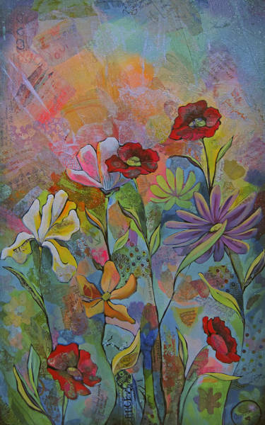 Wall Art - Painting - Garden Of Intention - Triptych Left Panel by Shadia Derbyshire