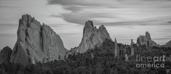 Corral Wall Art - Photograph - Garden Of The Gods Panorama Bw by Michael Ver Sprill