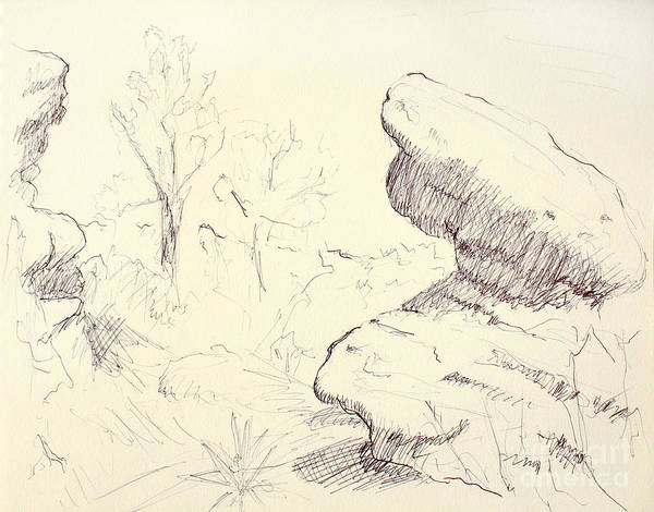 Wall Art - Drawing - Garden Of The Gods Rocks Along The Trail Ink Drawing On Toned Pa by Adam Long