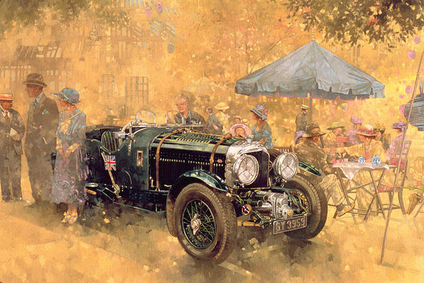 Fresco Wall Art - Painting - Garden Party With The Bentley by Peter Miller