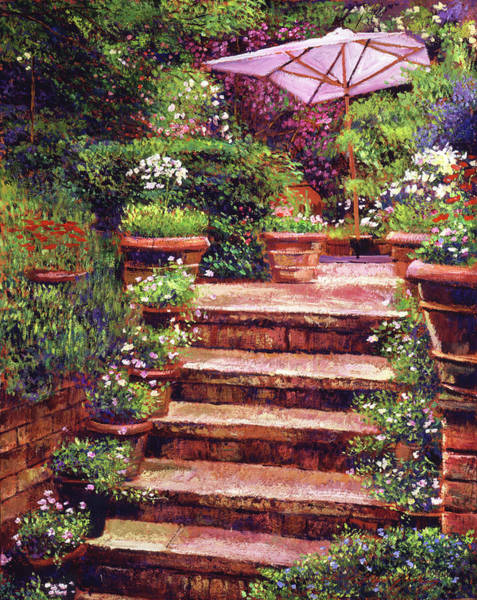 Wall Art - Painting -  Garden Patio Stairway by David Lloyd Glover