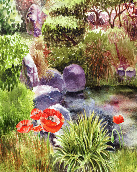 Wall Art - Painting - Garden Poppies Rocks And Pond by Irina Sztukowski