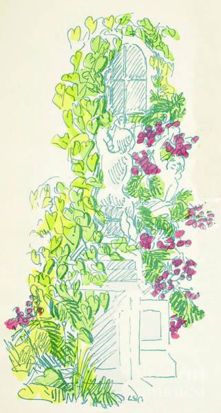 Botanical Garden Drawing - Garden Scene With Statue by German School