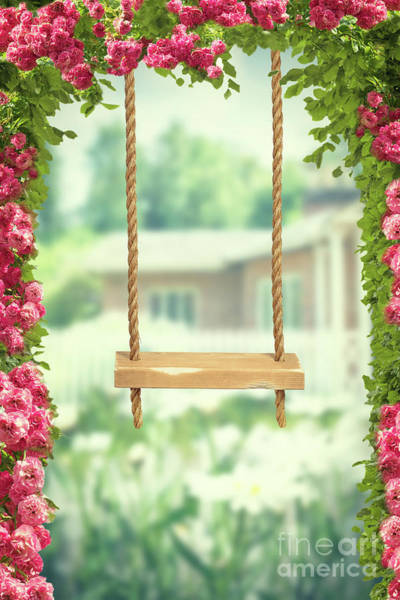 English Garden Photograph - Garden Swing by Amanda Elwell