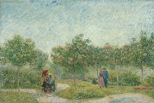 Painting - Garden With Courting Couples  Square Saint Pierre by Artistic Panda