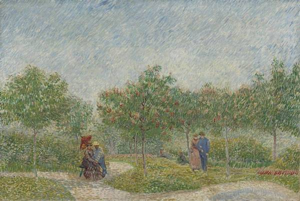 Wall Art - Painting - Garden With Courting Couples, Square Saint-pierre Paris, May 1887 Vincent Van Gogh 1853 - 1890 by Celestial Images