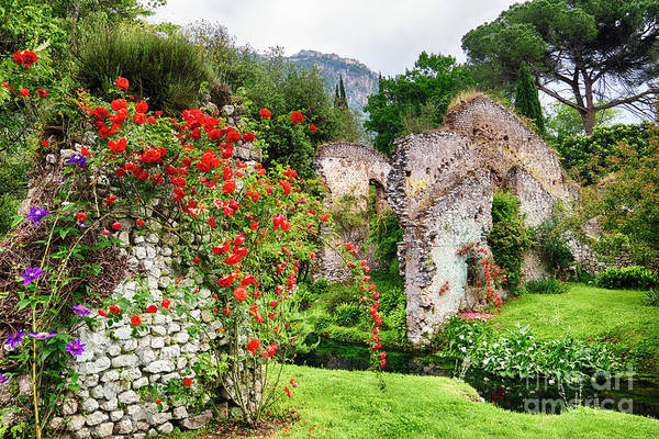 Wall Art - Photograph - Garden With Historic Ruins And Blooming Flowers by George Oze