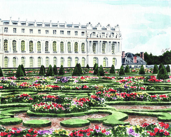 Dutch Tulip Painting - Gardens Of Versailles Palace Chateau Springtime Paris France Marie Antoinette by Laura Row