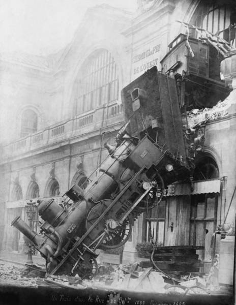 Photograph - Gare Montparnasse Train Wreck 1895 by Photo Researchers