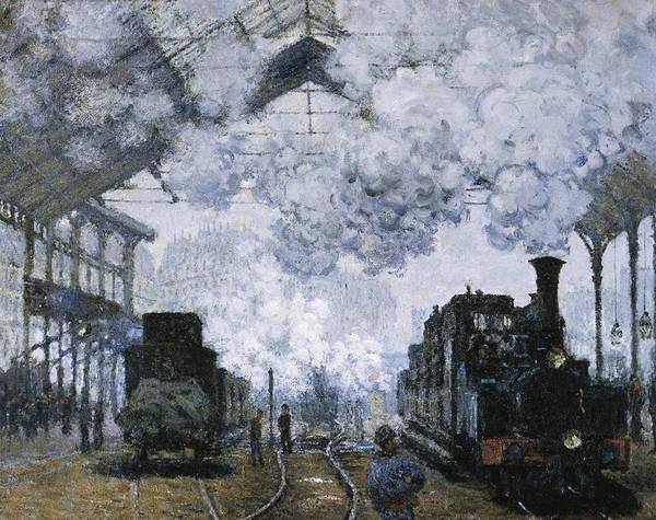 Railroad Station Painting - Gare Saint  by Claude Monet