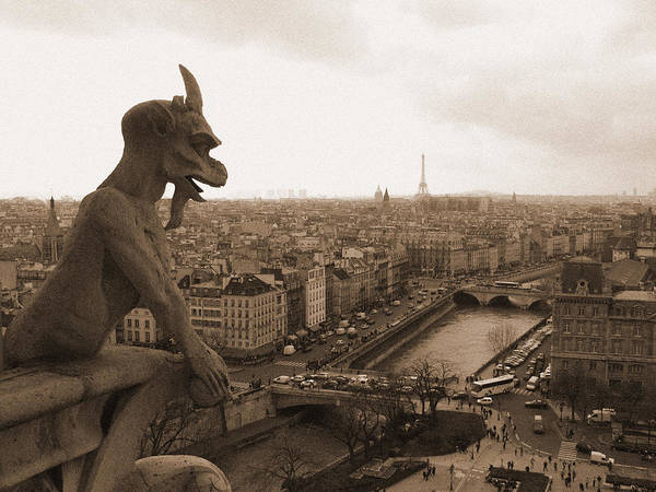Photograph - Gargoyle Looking Over Paris by Mark Currier
