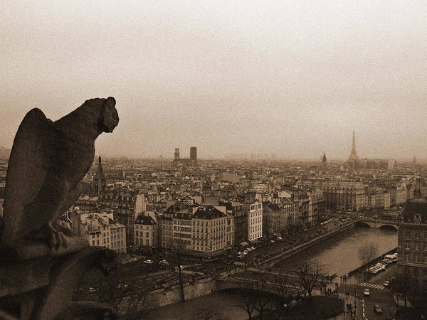 Photograph - Gargoyle Over Paris by Mark Currier