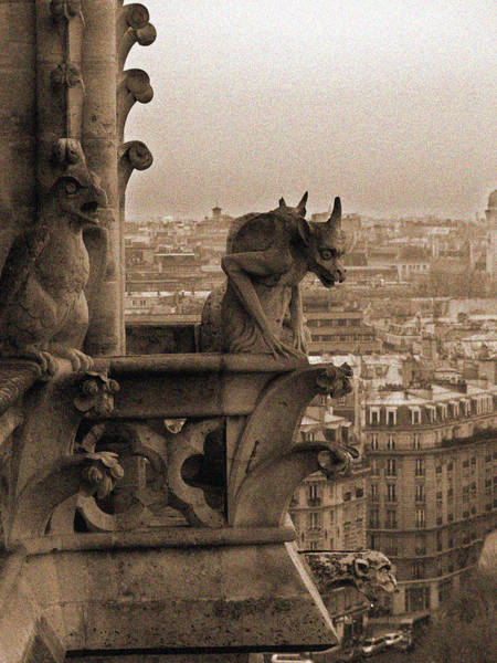 Photograph - Gargoyles Of Notre Dame by Mark Currier