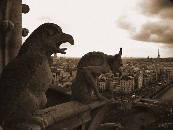 Photograph - Gargoyles Over Paris by Mark Currier