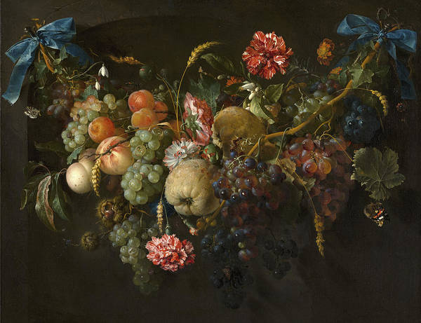 Cow And Calf Wall Art - Painting - Garland Of Fruit And Flowers by Jan Davidsz de Heem