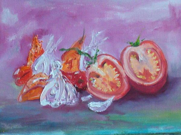 Garlic And Tomato  Art Print