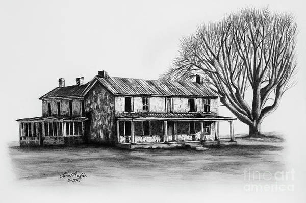 Homestead Drawing - Garred House by Lena Auxier