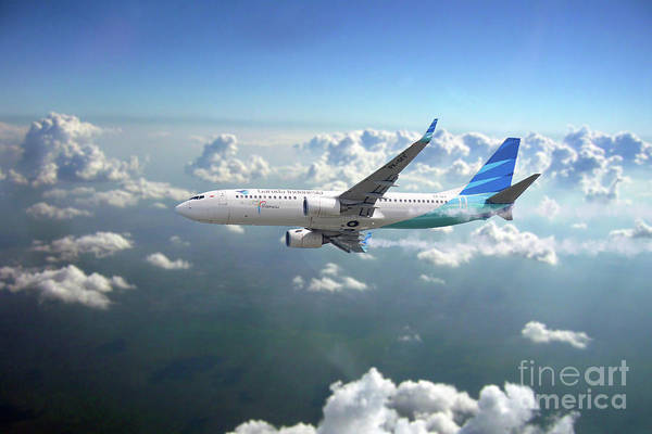 Indonesia Digital Art - Garuda Indonesia Boeing 737-800 by J Biggadike