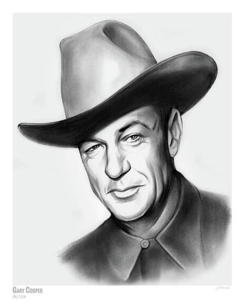 Cowboy Drawing - Gary Cooper by Greg Joens