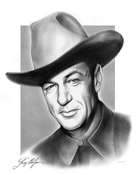 Professional Drawing - Gary Cooper Signature by Greg Joens