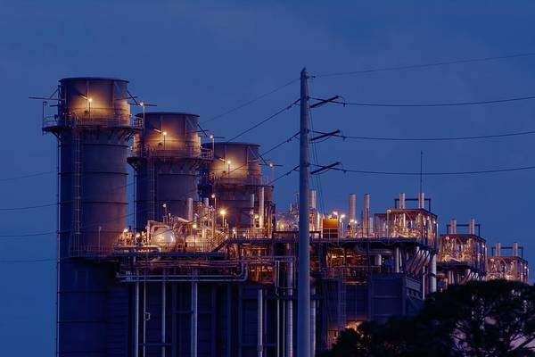 Photograph - Gas Power Plant At Night by Bradford Martin