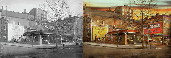 Wall Art - Photograph - Gas Station - At The End Of A Day 1925 - Side By Side by Mike Savad
