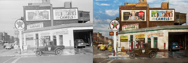 Wall Art - Photograph - Gas Station - Benton Harbor Mi - Indian Trails Gas Station 1940 - Side By Side by Mike Savad