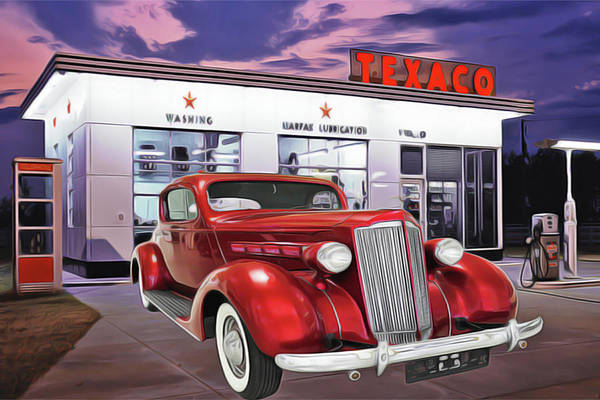 Painting - Gas Station by Harry Warrick