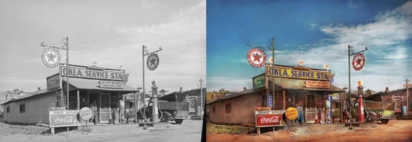 Photograph - Gas Station - Oklahoma Service Station 1939 - Side By Side by Mike Savad