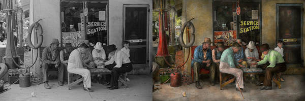 Wall Art - Photograph - Gas Station - Playing Checkers Togther 1939 - Side By Sdie by Mike Savad