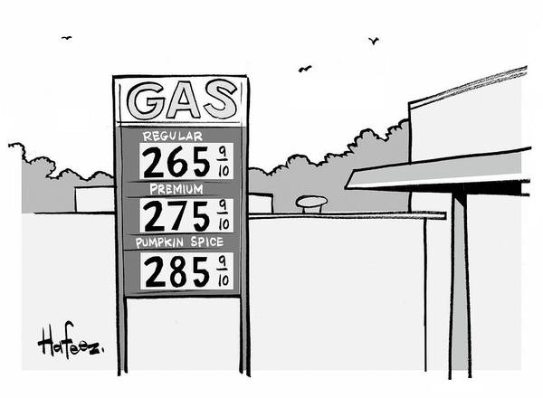 Hafeez Drawing - Gas Station Pumpkin Spice by Kaamran Hafeez
