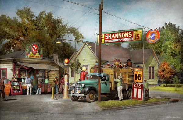 Photograph - Gas Station - Shannon's Super Gasolines 1939 by Mike Savad