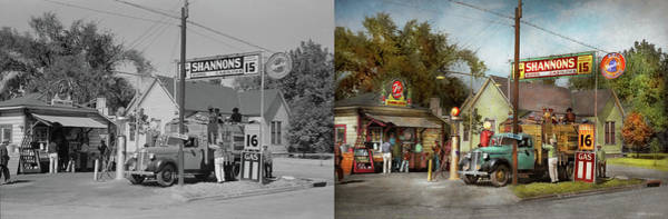 Photograph - Gas Station - Shannon's Super Gasolines 1939 - Side By Side by Mike Savad