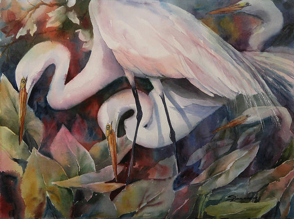 Wall Art - Painting - Gathering Egrets by Sue Zimmermann