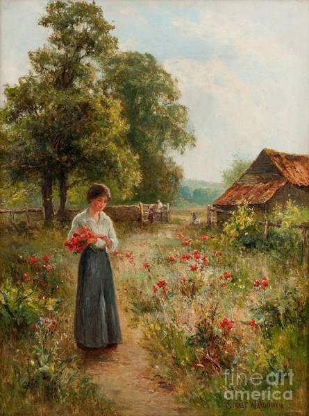 Painting - Gathering Flowers by Celestial Images