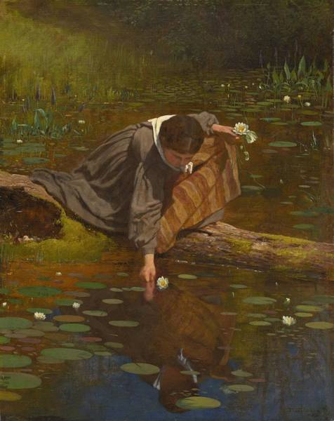 Wall Art - Painting - Gathering Lilies by Eastman Johnson