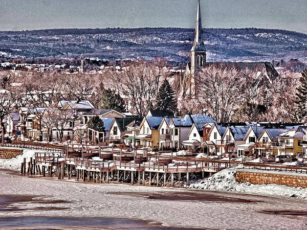 Frozen River Digital Art - Gatineau Riverside by Leslie Montgomery