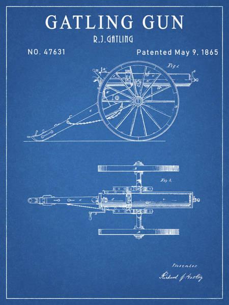 Drawing - Gatling Gun Patent by Dan Sproul