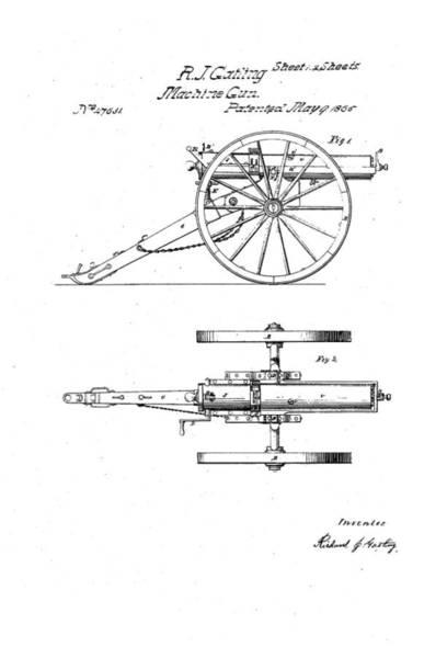 Artful Drawing - Gatling Machine Gun Patent Drawing 1865 Black And White by Patently Artful