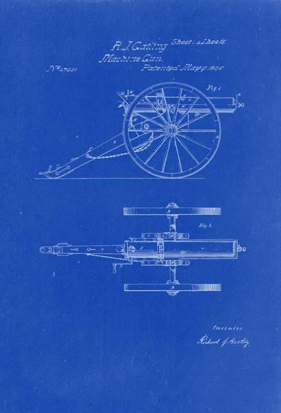 Artful Drawing - Gatling Machine Gun Patent Drawing 1865 Blueprint by Patently Artful