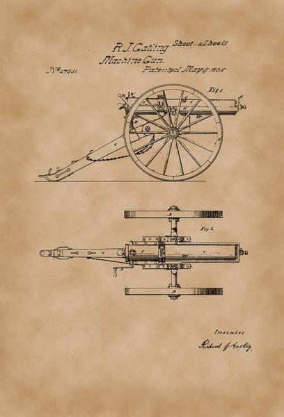 Artful Drawing - Gatling Machine Gun Patent Drawing 1865 Parchment by Patently Artful