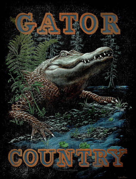James Wall Art - Painting - Gator Country by JQ Licensing