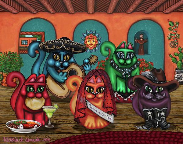 Painting - Gatos De Santa Fe by Victoria De Almeida