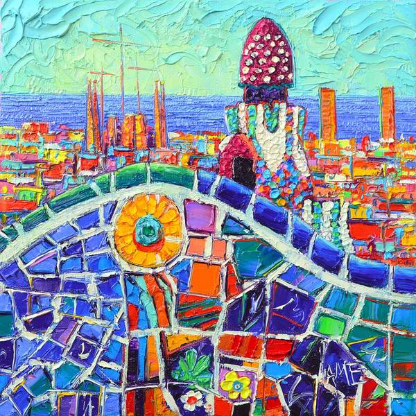 Painting - Gaudi's Sunflower Mosaic Barcelona Park Guell Textural Impasto Knife Oil Painting Ana Maria Edulescu by Ana Maria Edulescu